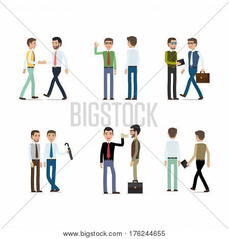 Businessmen working concept vector collection on white. Vector illustration of male characters people shaking hands, passing money, going with bag, holding dark umbrella, pointing on jotter.
