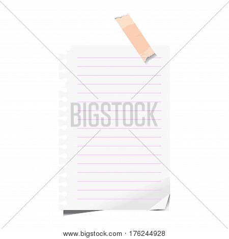 Blank paper or lined sheet of torn notepad list on sticky memo note or adhesive tape. Vector isolated template icon