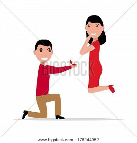 Vector illustration cartoon man with ring makes an offer to a woman to marry. Proposal of marriage. Flat style. Boyfriend is standing on knee with box ring, girlfriend jumping with happiness.