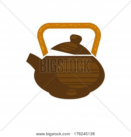 Ceramic or clay teapot in Chinese style with handle. Brewed green or black tea drink icon for teahouse cafe or cafeteria design element. Vector flat template