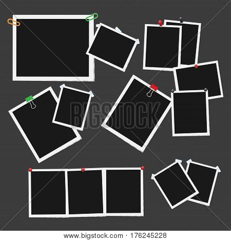 Empty photo frames pinned, clipped and taped on dark background vectors set. Cards or reminders templates attached with pushpins, paperclips and scotch tape illustrations collection