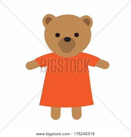 Toy bear in orange dress isolated vector illustration. Funny forest-dweller toy cute bear in dress favourite toy of all children. Soft toy-friend for boys and girls makes childhood happier.