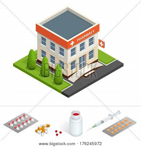 Isometric pharmacy store. Facade of pharmacy in the urban space, the sale of drugs and pills