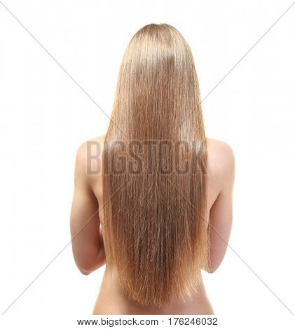 Back view of young woman with beautiful long hair on white background