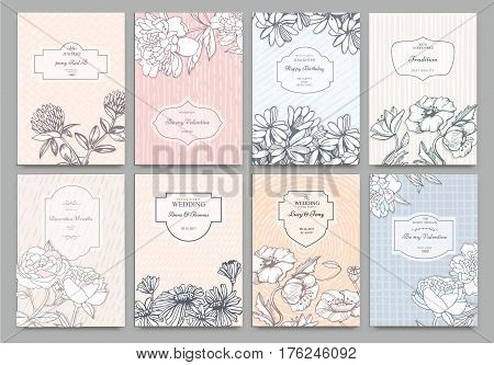 Set of Isolated creative background cards. Hand drawn elements. Vector template banners for card, poster, invitation, flyer, party, wedding, brochure. Flower design collection - stock vector