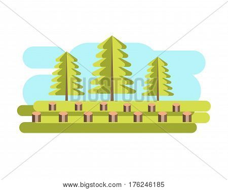 Environmental pollution problem and nature environment or ecology industrial harm. Forest trees felling and deforestation eco concept vector flat illustration