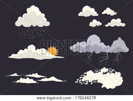 Cloud types vector set isolated on dark background with different nature states. Storm, cloudscape, sun, rain with top view. poster