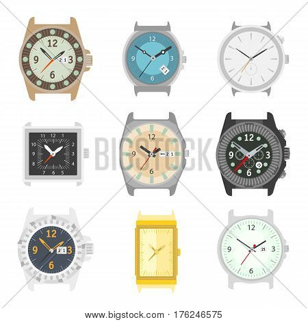 Wrist watches without strap. Classic mechanical analog female or male wristwatch with clock face of hour, minute and second arrows. Vector flat icons set