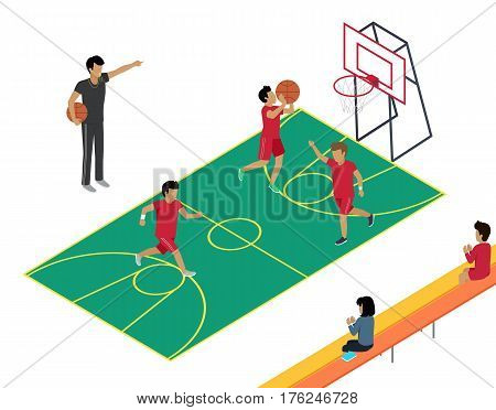 Basketball vector training with three players, one throwing ball in basket and two running around coach holding ball, whistling and pointing direction with his hand, two people sitting on bench