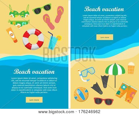 Beach vacation conceptual web banners. Flat style vector. Summer leisure on seacoast. Entertainments on sea shore. Horizontal illustration for travel company landing page, corporate site design