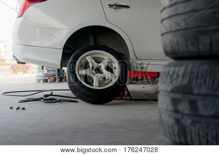 Car tire change Tires that are out of use.