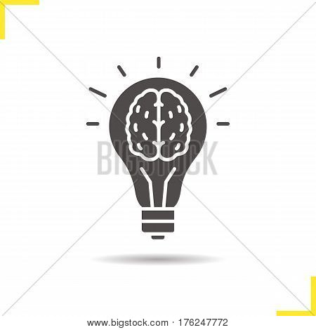 Good idea icon. Drop shadow eureka silhouette symbol. Human brain inside light bulb. Negative space. Vector isolated illustration