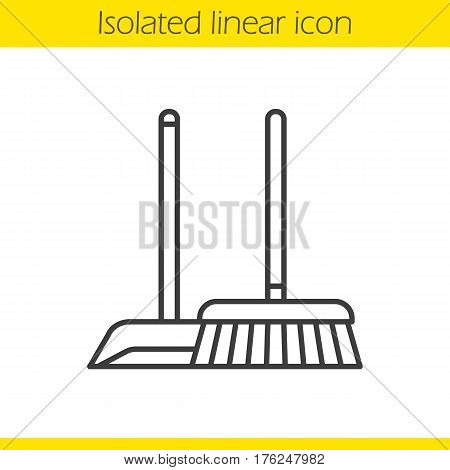 Cleaning service linear icon. Thin line illustration. Mop and dustpan contour symbol. Vector isolated outline drawing