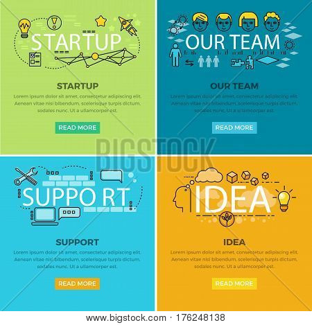 Our team startup and idea support vector creative web colourful poster. Business concept pictures with modern and futuristic signs of gadgets, human faces, useful ideas and information below