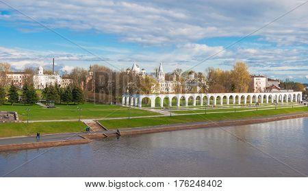 Quay Volkhov River in Velikiy Novgorod overlooking the Yaroslav Court. Russia, Veliky Novgorod. May 3, 2015