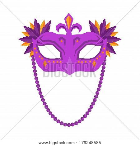 Mardi Gras mask isolated on white background. Carnival poster with masque with colored feathers illustration. Big festival promotion logotype. Vector illustration of advertisement sign board in flat