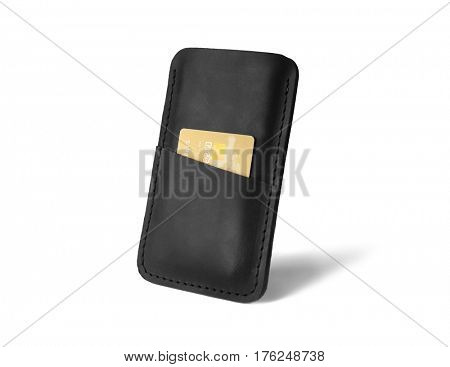 Leather case for mobile phone and credit card on white background