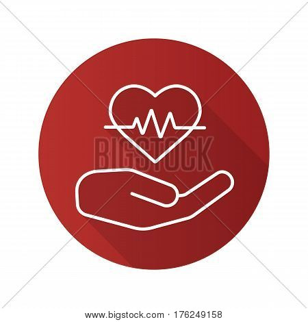 Heart care flat linear long shadow icon. Human hand with heartbeat curve. Vector line symbol