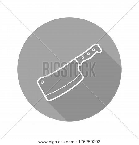Butcher's knife flat linear long shadow icon. Meat cleaver. Vector line symbol