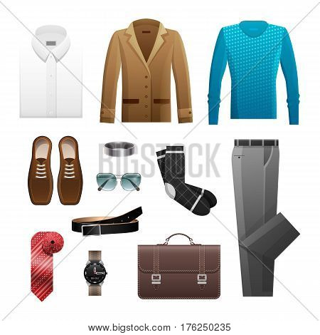 Men s outfits set for everyday life. Vector poster of white shirt, brown jacket, blue sweater, umber shoes black socks, grey trousers and wristband, dark bag, ruddy rolled tie, dark watch and belt