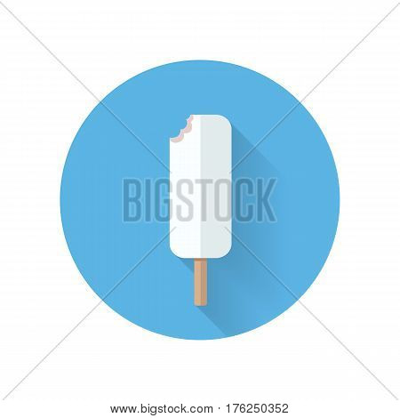 Biten ice cream on stick. Eskimo in white chocolate. Vector in flat design. Refreshing cold dessert. Summer sweets. Illustration for food concepts, diet infographic, icons or web design.