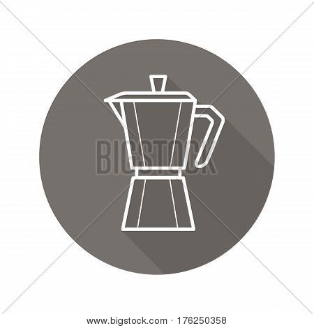 Moka pot flat linear long shadow icon. Classic coffee maker. Vector line symbol