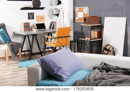 Interior of a teenage boy's room with a sofa and workplace