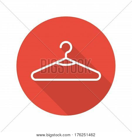 Clothes hanger flat linear long shadow icon. Clothing store sale. Vector line symbol