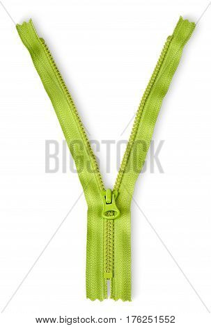 Partially unbuttoned fastener vertically isolated on white background