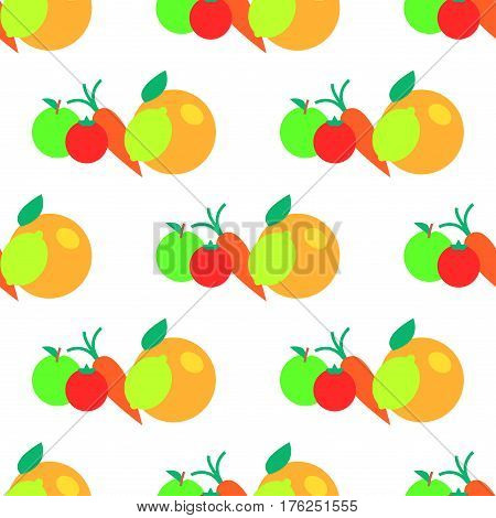 Fruits and vegetables cartoon seamless pattern. Orange, apple, tomato and carrot flat vector isolated on white.  Edible plants ornament with repeating elements for wrapping paper, cards and prints