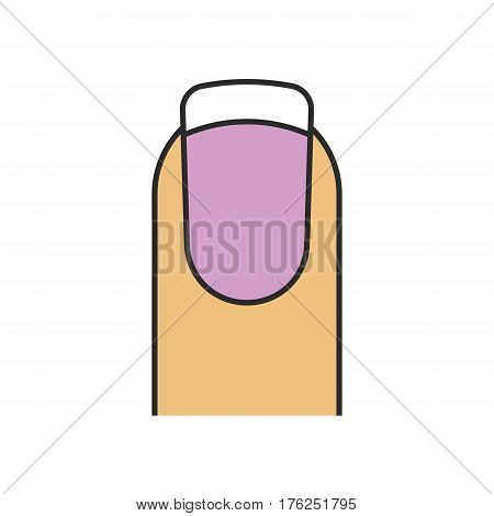 French manicure color icon. Woman nail with purple and white polish. Isolated vector illustration