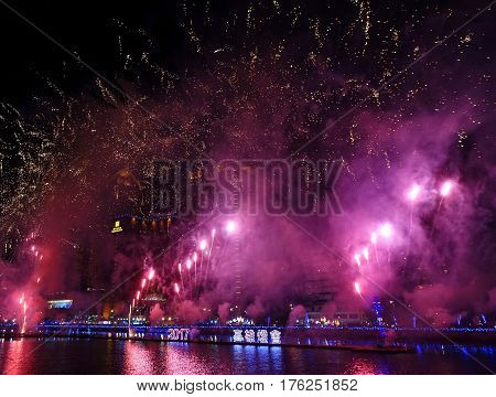 Fireworks Along The Love River In Taiwan