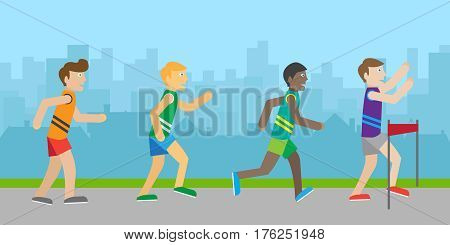Runners on finish vector. Flat style. Enjoyment of victory. Running people crossing ribbon at the finish. Winner in sport competition. Marathon. Activity and healthy life. Isolated on white background