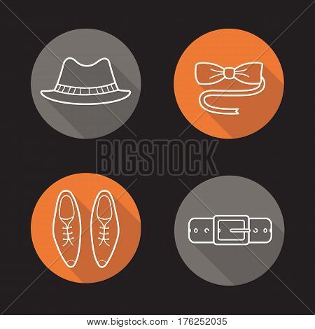 Gentleman's fashion flat linear long shadow icons set. Men's accessories. Homburg hat, butterfly tie, classic shoes, leather belt. Vector line illustration