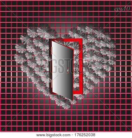 Heart of gray flowers on a red cage Abstract drawing bouquet symbol of love open door black background shadow flower petal postcard stock vector illustration
