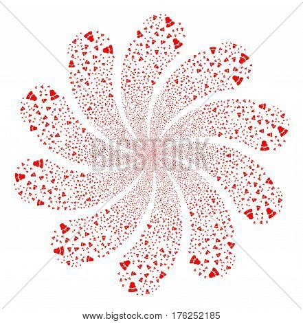 Woman fireworks swirl flower with ten petals. Vector illustration style is flat red scattered symbols. Object whirl constructed from random symbols.