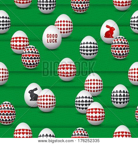 Seamless gambling background with red and black symbols over easter eggs vector illustration. Ideal for printing onto fabric and paper or scrap booking.