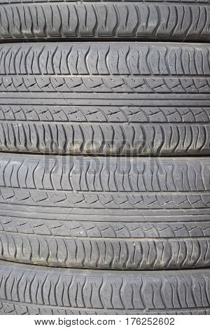The Background Of The Tread Pattern Of The Car Wheel. Rubber Tir