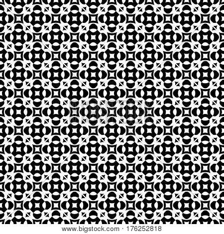 Vector seamless texture, monochrome geometric pattern with simple rounded figures, perforated squares, circles, crosses, triangles. Diagonal grid, repeat tiles. Contrast design for prints, decoration, textile, fabric, digital, web