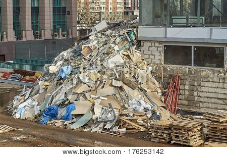 Huge pile of a rubbish on the construction site