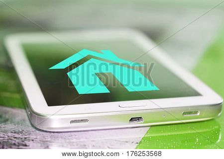 The home page on the cell phone screen . The concept of communication on the Internet