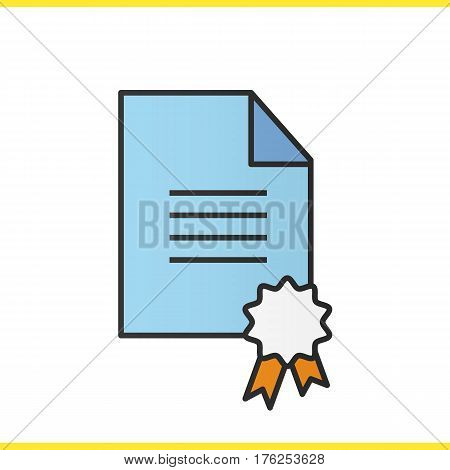 Diploma color icon. School certificate. Paper with sealing wax and tie. Isolated vector illustration
