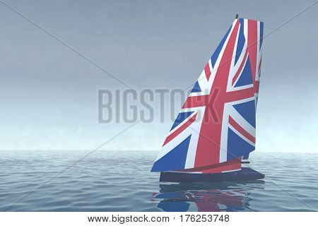 Sailboat With Sail Colored As Uk Flag On The Sea