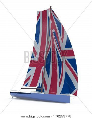 Sailboat With Sail Colored As Uk Flag