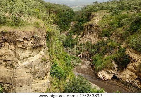 Water-gouged gorges in the Hells Gate National Park in Kenya
