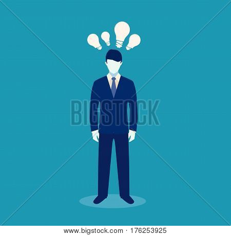 Businessman get the idea. Businessman thinking a new idea. Big idea concept. Symbol of having an idea with businessman. Vector stock.