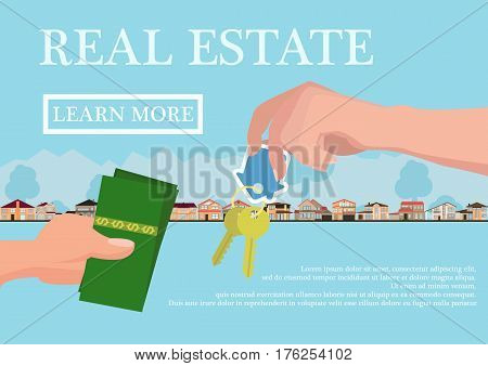 Vector real estate concept in flat style - businessmans hand giving keys and buyer give money, web banner, houses for sale or rent.
