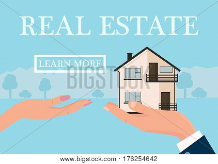 Vector real estate concept in flat style - businessmans hand giving house to buyer, web banner, houses for sale or rent