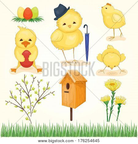 Spring and easter set, green and yellow colors. Chickens and duck with egg. Vector illustration, cartoon style