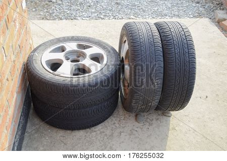 Four Wheel Drive. Rubber Tires. Summer Rubber Set For The Car